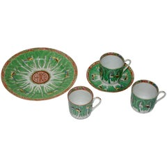 Famille Verte Set of Porcelain Cabbage and Butterfly Pattern Cups and Plates