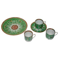 Famille Verte Set of Porcelain Cabbage and Butterfly Pattern