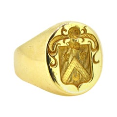 Family Crest Signet Yellow Gold Ring