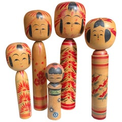 Family Five Old Japanese Famous Kokeshi Dolls, All Hand Painted and Signed