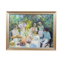 Family Joy, Don Hatfield Contemporary Framed Garden Oil on Linen Painting