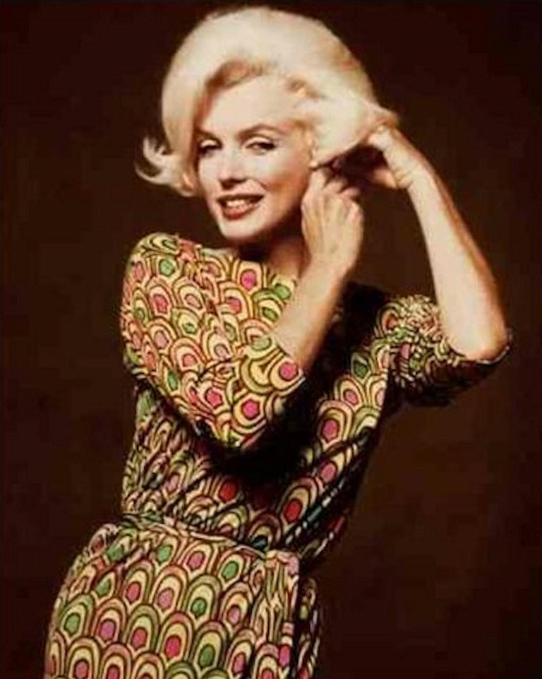 Famous Marylin Monroe Emilio Pucci Peacock Print Sequin Cocktail Dress  For Sale 2