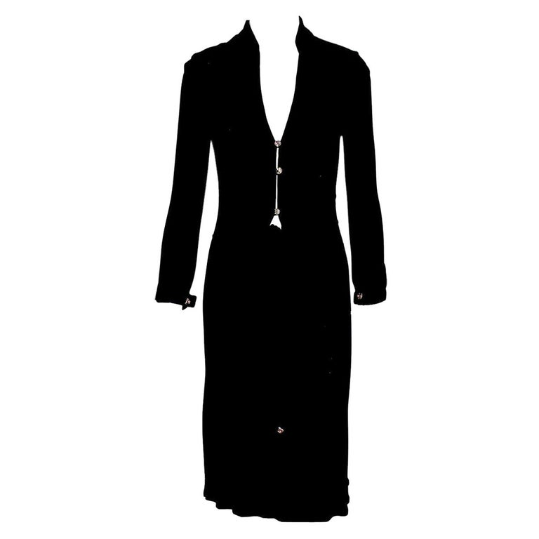 Famous Gianni Versace Couture SS 2000 Black Dress from Jungle Collection For Sale