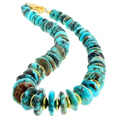 Famous Iron Mountain Turquoise and Goldy Rondels Necklace
