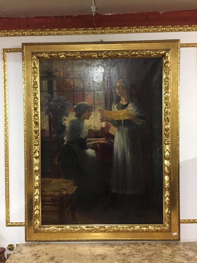 The present painting comes from the hand of the painter Walther Firle. It was created circa 1884 after a stay of the artist in Holland. In The Hague he saw a group of orphan girls whose pious singing charmed and inspired him to draw. Back in Munich,