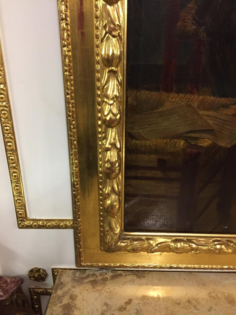Biedermeier Famous Painter Walther Firle Oil on Canvas with Leaf Gold Frame For Sale