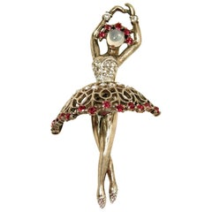 Famous Vintage 1940s signed Trifari Ballerina Dancer Brooch
