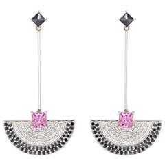Fan Dangler Earrings with Pink Sapphire and Black and White Diamonds