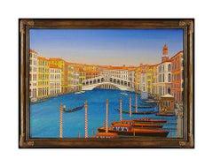 Fanch Ledan Original Acrylic Painting On Canvas Signed Italian Cityscape Art oi