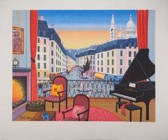 Paris : Elegant Apartment with View on Montmartre - Original lithograph