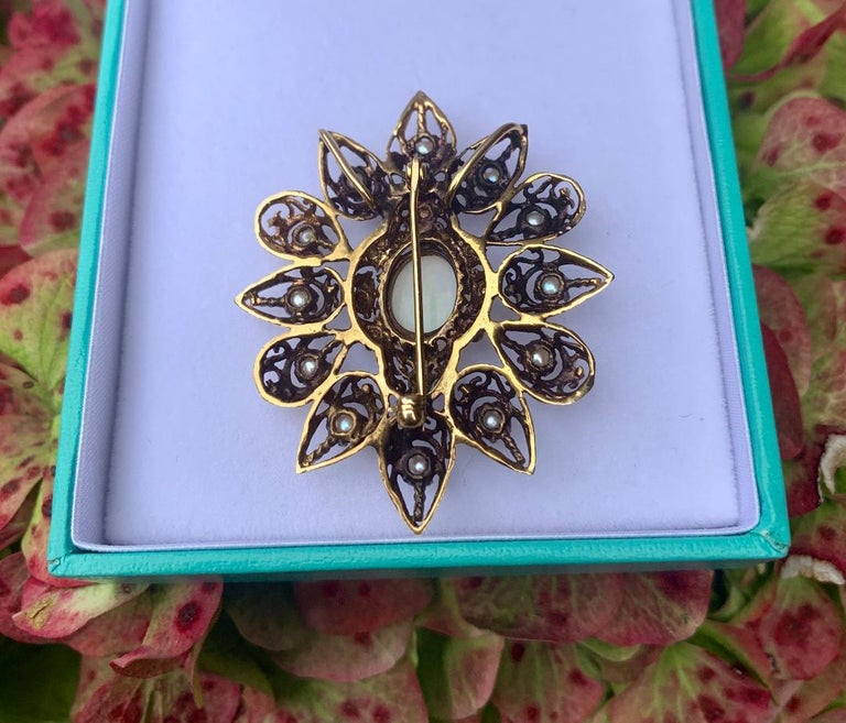 Fanciful Antique Victorian Filagree Opal, Diamond and Pearl Brooch Pendant For Sale 5