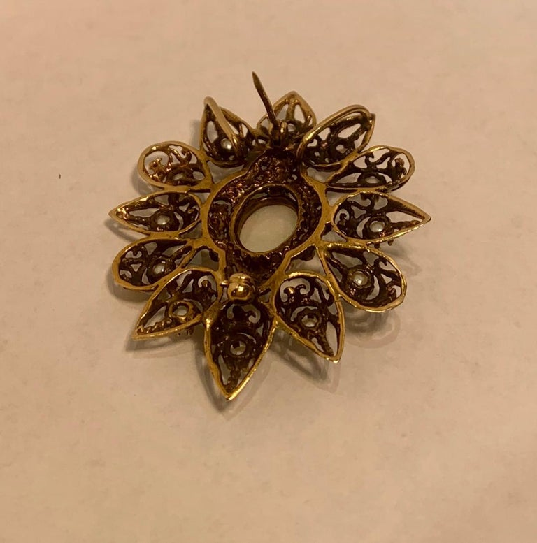Fanciful Antique Victorian Filagree Opal, Diamond and Pearl Brooch Pendant For Sale 8