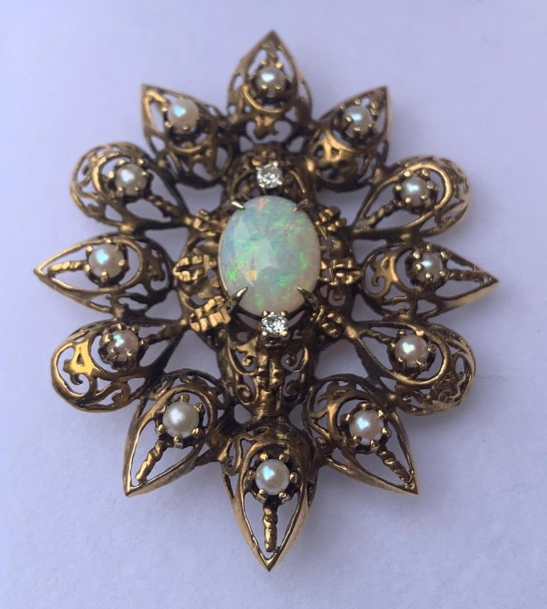 Fanciful Antique Victorian Filagree Opal, Diamond and Pearl Brooch Pendant For Sale 9