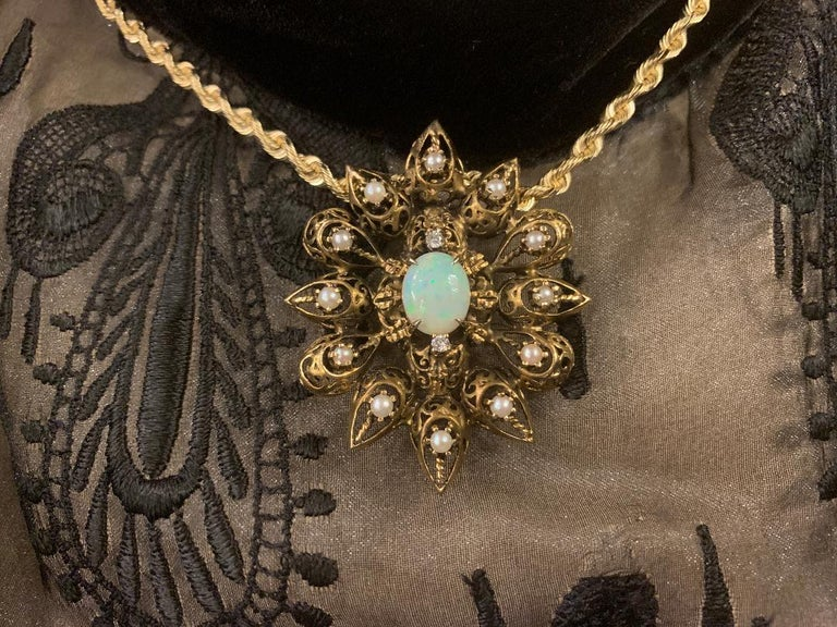 Oval Cut Fanciful Antique Victorian Filagree Opal, Diamond and Pearl Brooch Pendant For Sale