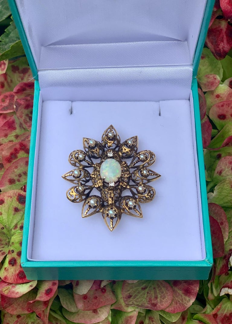 Women's Fanciful Antique Victorian Filagree Opal, Diamond and Pearl Brooch Pendant For Sale