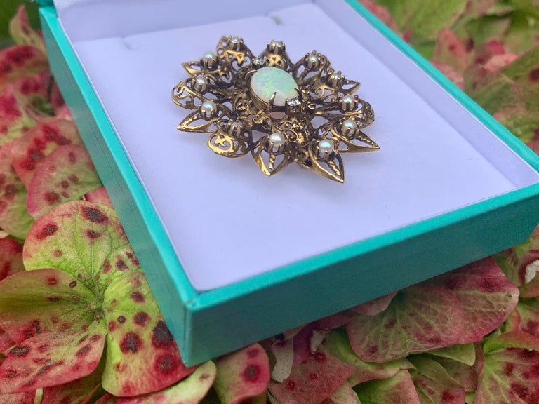 Fanciful Antique Victorian Filagree Opal, Diamond and Pearl Brooch Pendant For Sale 1