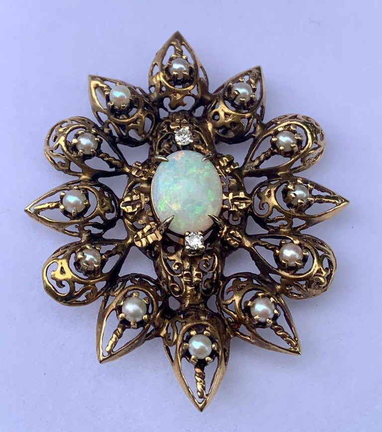 Fanciful Antique Victorian Filagree Opal, Diamond and Pearl Brooch Pendant For Sale 4
