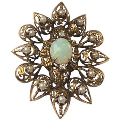 Fanciful Antique Victorian Filagree Opal, Diamond and Pearl Brooch Pendant