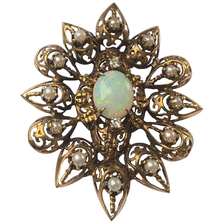 Fanciful Antique Victorian Filagree Opal, Diamond and Pearl Brooch Pendant For Sale