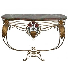 Fanciful Console in Lacquered Metal and Gilt Metal Top Painted Imitation Marble