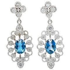 Fanciful London Blue Topaz Diamond 18 Karat Gold Drop Earrings
