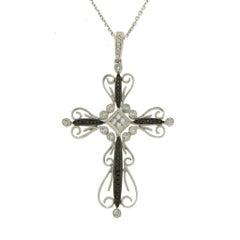 Fancy 0.49 Carat Diamonds 14 Karat White Gold Cross Pendant Necklace