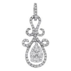 Fancy 0.96 Carat Diamonds 18 Karat White Gold Drop Pendant Charm