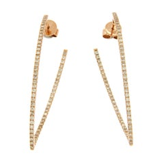 Fancy 14 Karat Rose Gold 1.26 Carat Diamonds Hoop Earrings