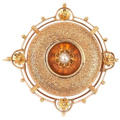 Fancy 14 Karat Rose Gold Pearl Target Brooch in Original German Box