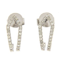 Fancy 14 Karat White Gold 0.22 Diamonds Hoop Earrings