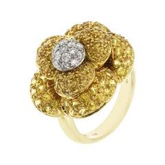 Fancy 14 Karat Yellow Gold 1.25 Carat Citrine 0.12 Diamond Flower Ring