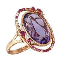 Fancy 14.5ct Purple Amethyst White Diamond Pink Sapphire 18 Karat Rose Gold Ring