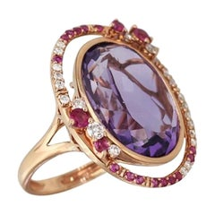 Fancy 14.5ct Purple Amethyst White Diamond Pink Sapphire 18 Karat Rose Gold Ring
