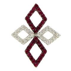 Fancy 18 Karat White Gold 0.60 Carat Diamonds and 1.20 Carat Ruby Pendant Charm