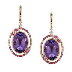 Fancy 20 Carat Purple Amethyst White Diamond Pink Sapphire 18 K Gold Earrings