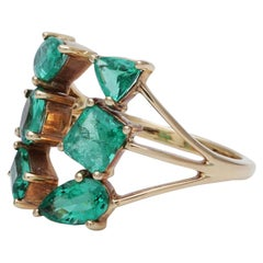 Fancy 6-Stone Emerald Cocktail Ring Handcrafted in 18 Karat Yellow Gold