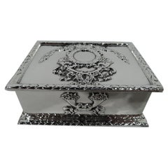 Fancy Antique American Sterling Silver Postage Stamp Box