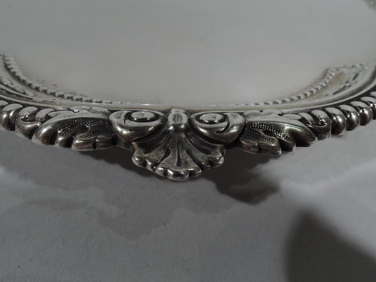 Late 19th Century Fancy Antique English Sterling Silver Georgian Salver Tray For Sale