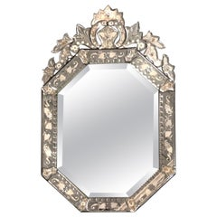Fancy Antique Etched Glass Venetian Mirror