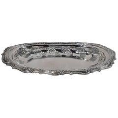 Fancy Antique Tiffany Edwardian Sterling Silver Bread Tray