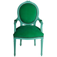 Fancy Armchair/Chair in Louis XVI Style, Green