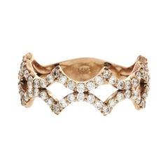 Fancy Art 14 Karat Rose Gold 0.85 Carat Diamonds Wedding Band Ring