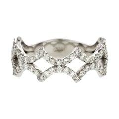 Fancy Art 14 Karat White Gold 0.85 Carat Diamonds Wedding Band Ring