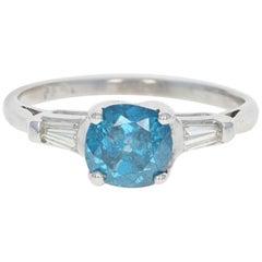 Fancy Blue and White Diamond Engagement Ring, Platinum Cushion Cut 1.45 Carat