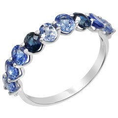 Fancy Blue Sapphire Diamond White Gold Ring