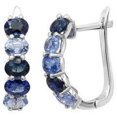 Fancy Blue Sapphire Diamond White Gold Stud Earrings for Her