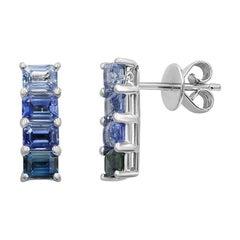 Fancy Blue Sapphire Diamond White Gold Stud Earrings