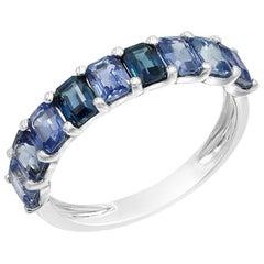 Fancy Blue Sapphire Diamond White Gold Stud Ring