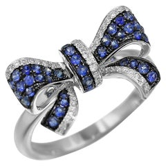 Fancy Blue Sapphire White Diamond White Gold Bow Tie Statement Ring