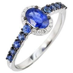 Fancy Blue Sapphire White Diamond White Gold Ring